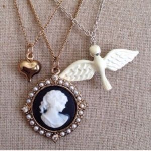 Charming Charlie Cameo Dove Heart Charm Necklace